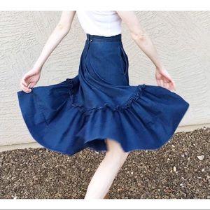VTG 80's MARILYN LENOX Denim Western Full Skirt